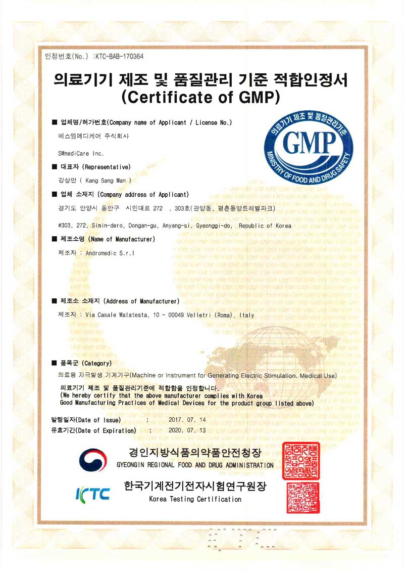 Certificate of GMP Andromedic S.r.l